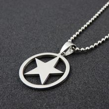Stainless Steel Pentagram Charms, Stainless Steel Polish Pentagram Pendant Necklace, Fashion Christmas Gift Jewelry