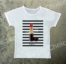 Track Ship+New Vintage Retro T-shirt Top Tee I Love My Red Color Lipstick Lip Stick 0918(Hong Kong)