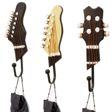 3pcs/set Vintage Resin Guitar Headstock Metal Wall Hook Clothes Bag Hanger  Hat Door Wall Clothes Towel Bath Fit For Decoration