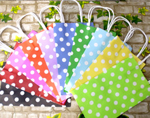Classic! 11colors (30pcs/lot) Polka Dots Paper bag with handles,Candy Color Party Favor Bag Party Paper Gift Bag 21x13x8cm