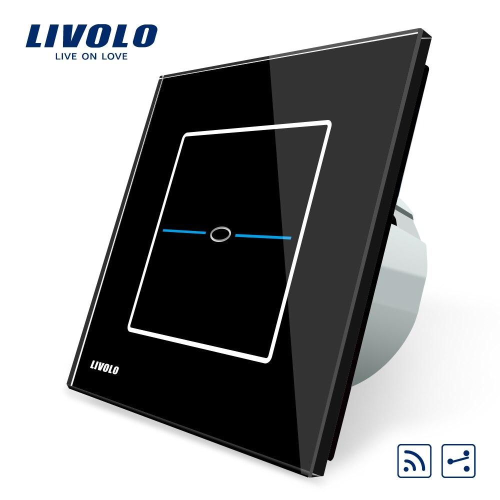 Livolo EU Standard, C701SR-32, Black Crystal Glass Panel, AC 220~250V Wall Light 2 Way Touch Remote Switch,No remote controller<br>