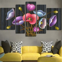 2017 Modular Picture Wall Painting Colorful Flowers Canvas Paints Print Home Decoration Photoes Artwork For Living Room(China)