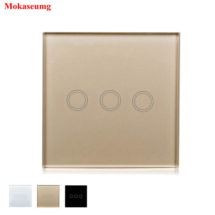 Smart Home DIY EU/UK Touch Switch LED Wall Light Switch 3 Gang 1 Way Waterproof Crystal Tempered Glass Panels 170-240V<br>