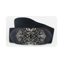 Retro palace carved women wide waist belts luxury female elastic straps designer high quality lady's decorative belt