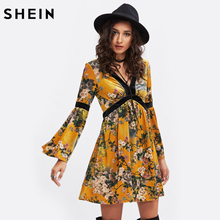 SHEIN Trumpet Sleeve Contrast Panel Botanical Velvet Swing Dress Yellow Long Sleeve V Neck Sexy Floral A line Dress