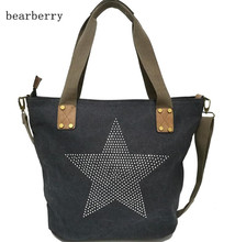 BEARBERRY 2017 diamond leather star printed CANVAS HANDBAG-Plus Size Multifunctional Travel Tote Shoulder Bag  Vintage Bolsos