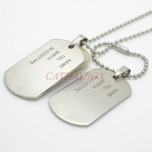 Two Pieces Men Matt Military Army Stainless Steel Blank Double ID Dog Tag Pendant Necklace(China)