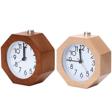 Wooden Digital Alarm Clock No Ticking Snooze Backlight Desk Clock Needle Alarm Clock Home Decoration(China)