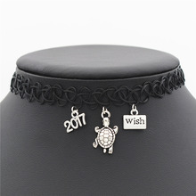 New 2017 Stylish Design Antique Silver Wish Charm Mini Gift Accessories Cute Turtle Pendant Stretch Tattoo Black Choker Necklace