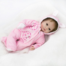 Buy New Silicone Baby Dolls Reborn Realistic Girl Dolls Soft Cloth Body Kids Birthday Chirstmas Gift Accompanying Dolls