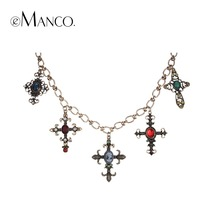 eManco Popular Vintage Choker Necklaces for Women Five Pendant Glass Copper Material Punk Style Fashion Jewelry(China)