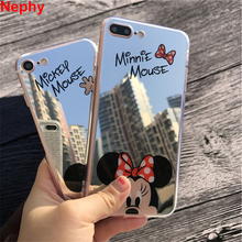 Nephy Brand High Quality Case For iPhone 7 5 6 s SE 5s 6s Plus 6plus 6sPlus 7Plus Mickey Minnie Mirror Cover TPU Silicon Casing