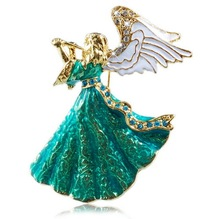 Vintage Music angle brooch green & white crystal brooch pins for women girl dress Accessories(China)