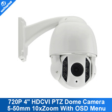 4'' Mini High Speed Dome HD 720P HDCVI PTZ CCTV CVI Camera With OSD Meun 5-50mm 10x Zoom Waterproof IR 60M Support CVR DVR
