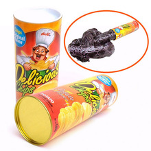Fun Joke Toys Funny Potato Chip Can Jump Spring Snake Toy Gift April Fool Day Halloween Party Decoration Jokes Prank Trick(China)