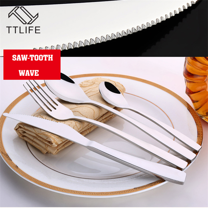 TTLIFE 4 Pcs Cutlery High Quality Stainless Steel Set Tableware Dinnerware Knife and Fork Camping Cooking(China (Mainland))