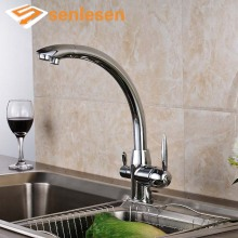 Polished Chrome Kitchen Mixer Faucet with Hot Cold Water Taps Two Handles One Hole