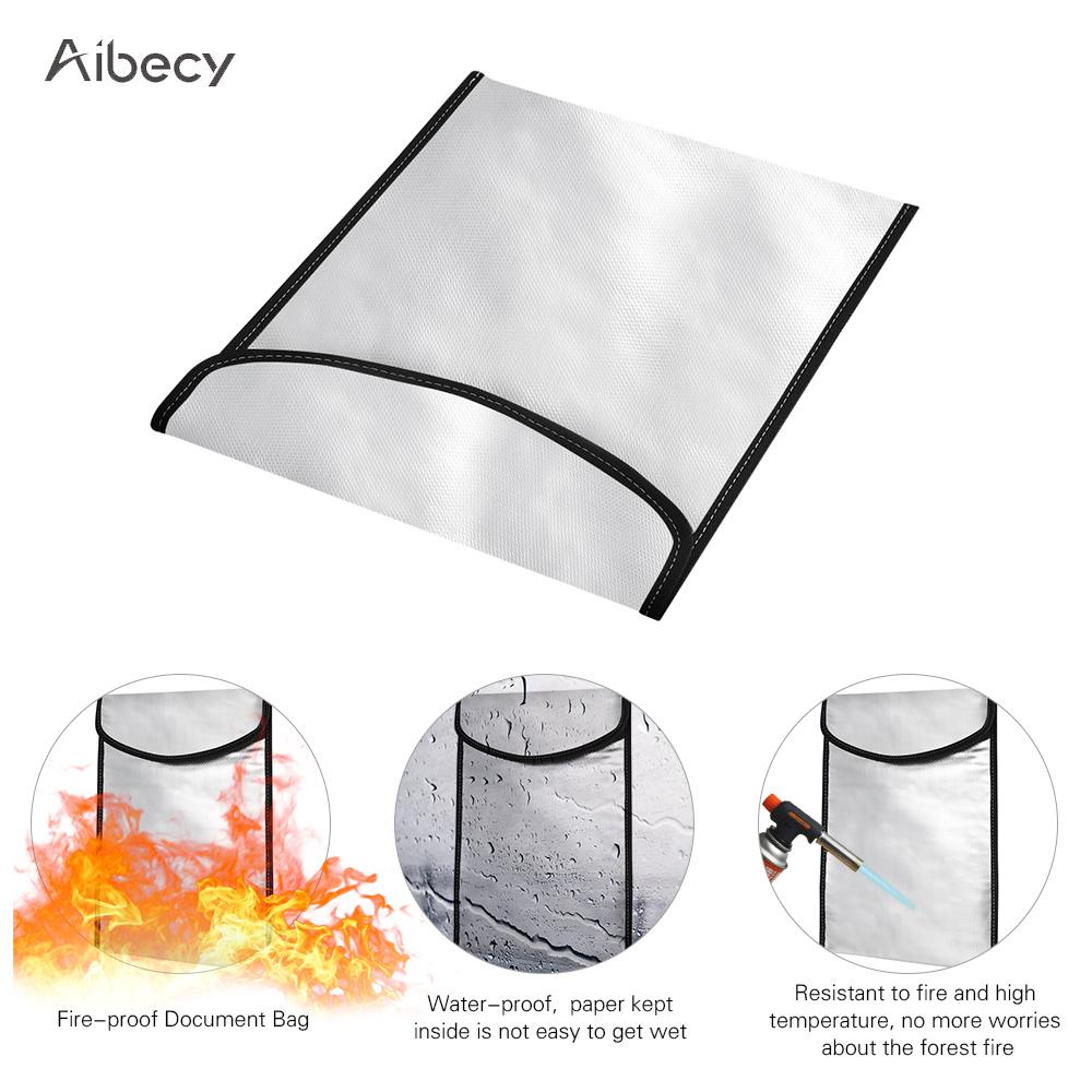Aibecy Fireproof Money Document File Bag Pouch Cash Bank Cards Passport Valuables Organizer Holder Safe Storage for Home Office