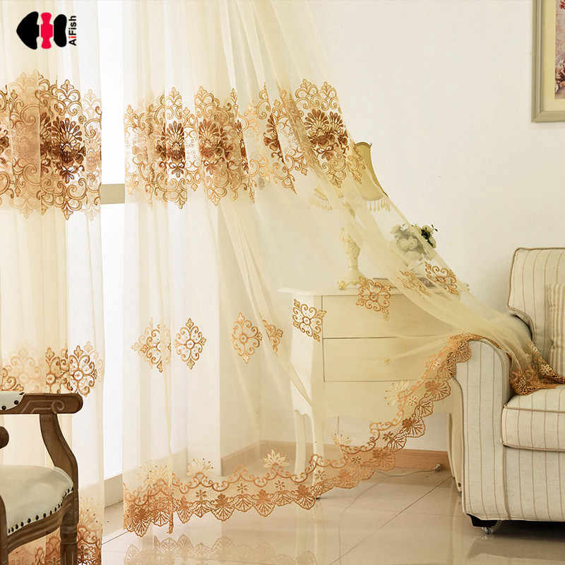 Embroidered voile curtains gauze Lace blinds Children nursery Wall Curtains elegant Living room Sheer tulle Cortinas WP160B