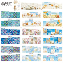 1Sheet Summer Ocean Designs Nail Art Water Transfer Stickers Full Wraps Watermark Nail Tip Decal Manicure Decor Tool LABN157-168