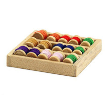Dollhouse Miniature Wooden Tray With 15 Assorted Cotton Reels Sewing Room Accessory Doll Furniture Room Decoration(China)