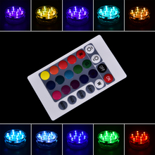 HOT Wedding Party Piscina Pond Lighting Battery Operated RGB 10 Led Submersible Light IP68 Waterproof Underwater Swimming Pool(China)