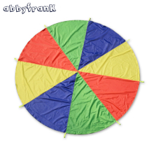 Abbyfrank Handles Toddlers Children Teamwork Play Outdoor Game Rainbow Multicolor Nylon Kids Toy Parachute For 4-8 Individuals
