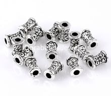 DoreenBeads Charm Beads Column Antique Silver Flower Carved 7x5mm,200PCs (B22201), yiwu
