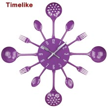 2017 Fashion Style Metal Kitchen Cutlery Utensil Wall Clock Spoon Fork Ladel Home Decoration Art Watch