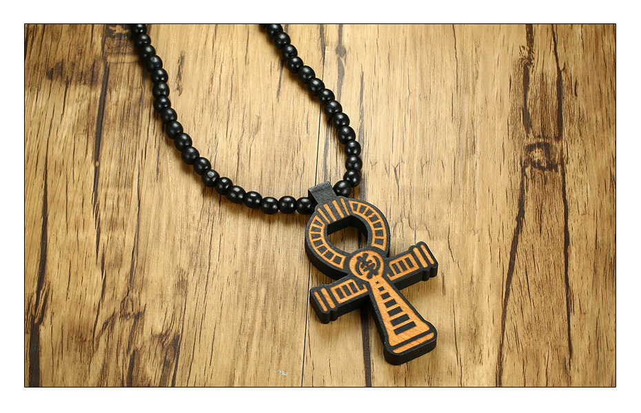 Meaeguet Carving Ancient Egypt Ankh Pendant Necklace For Men Amulet With 8mm Wood Beads Chain Length -90CM (5)