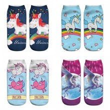 Novelty Colorful Anime Printed Animal Sock Cotton Women 3D Print Socks Art Overal Unicorn Socks 100 Pairs Wholesale Socks China(China)