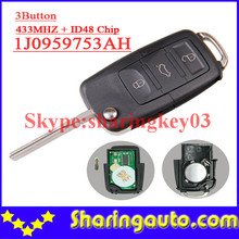 Free shipping (1piece) 1j0 959 753 AH 1j0959753AH  3 button Flip remote key with 433MHZ  48 chip for vw