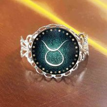 QiYuFang Zodiac pendant Rings glass cabochon antique Bronze art picture statement ring Constellation fashion