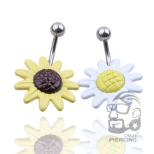 1PC Sunflower Flower Surgical Steel Belly Button Ring Navel Piercing Body Jewelry nickel  free shipping