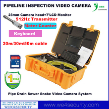 30M Cable Pipe Locating Pipe Inspection Camera System W/Color LCD DVR Keyboard Meter Counter,Pipe Snake Camera W/Locator