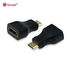 QGeeM MINI HDMI TYPE C MALE  TO HDMI A FEMALE ADAPTER converter 1080 P  2K 4K FOR MINI PC HDTV HD CAMERA