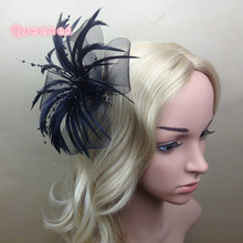 Wholesale Women Curl Feather Fascinators Hair Clip For Girl Purple Green Gray Pink Mesh Party Flower Clip Wedding Bride Headwear