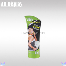 85*200cm Exhibition Booth Aluminum Portable Bevel Top Stretch Fabric Display Banner Stand With Double Side Full Color Printing(China)