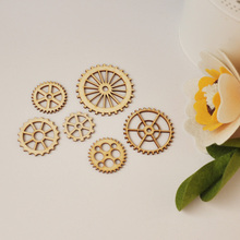 QITAI 72 Pieces/lot Gear Style Wood Craft Great Gifts For Wedding & Home Decor Creative Gift Thick Plywood Natual Color WF055(China)