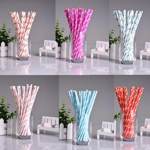 25pcs/lot Mini Heart Paper Straws for Kids Birthday Wedding Decoration Party Straws Event Supply Creative Paper Drinking Straws