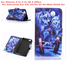 Winter Wolf Wolves Man's Style Flip Leather Case Cover For iphone 4 4s 5 5s SE 6 6plus for Samsung S3 S4 S5 mini G530 A3 A300