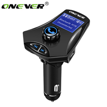 Onever Wireless FM Transmitter Bluetooth Car Kit MP3 Player Aux Modulator Handsfree LCD Display USB TF Car Charger with EQ Mode(China)