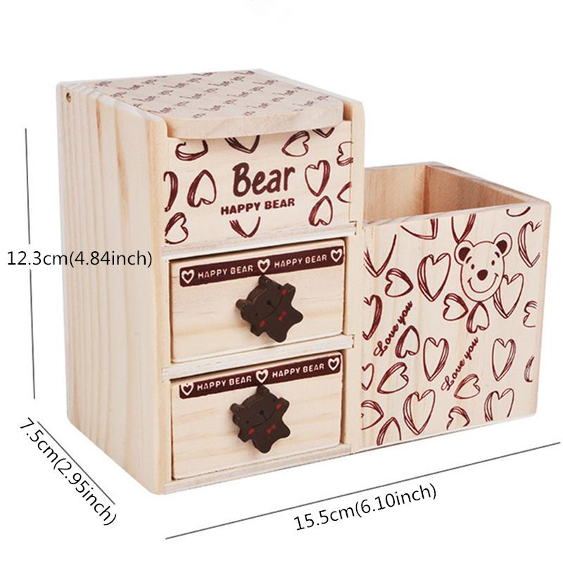 Wood Creative Fashion Cute Bear Wooden Pen Holder Office Organizer