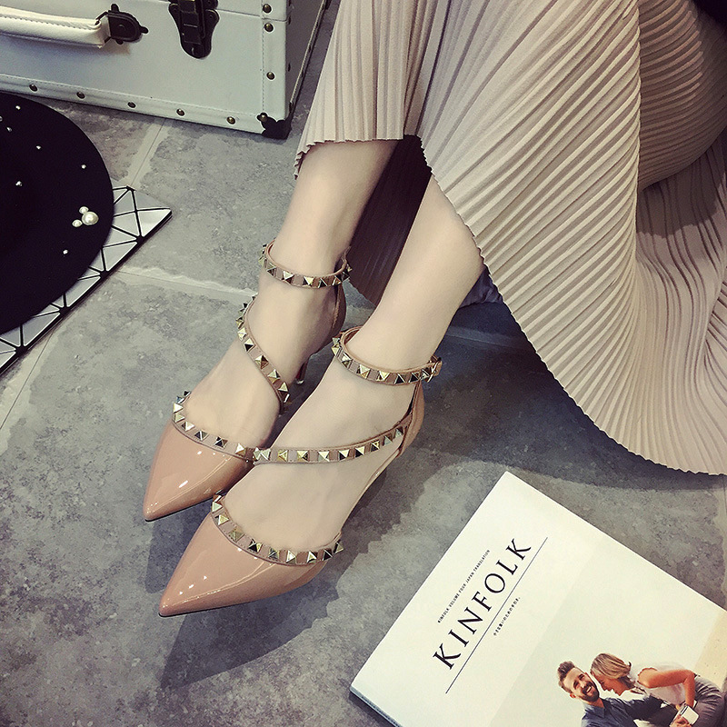 High Heel Shoes Sexy Pointed Toe Pumps Rivets Med Women Heels Shoe 6.5Cm<br><br>Aliexpress