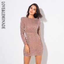 Love&Lemonade Sexy Open Back Pad Shoulder Elastic Sequins Bodycon Dress Black/Red/White/Champagne LM0398(China)