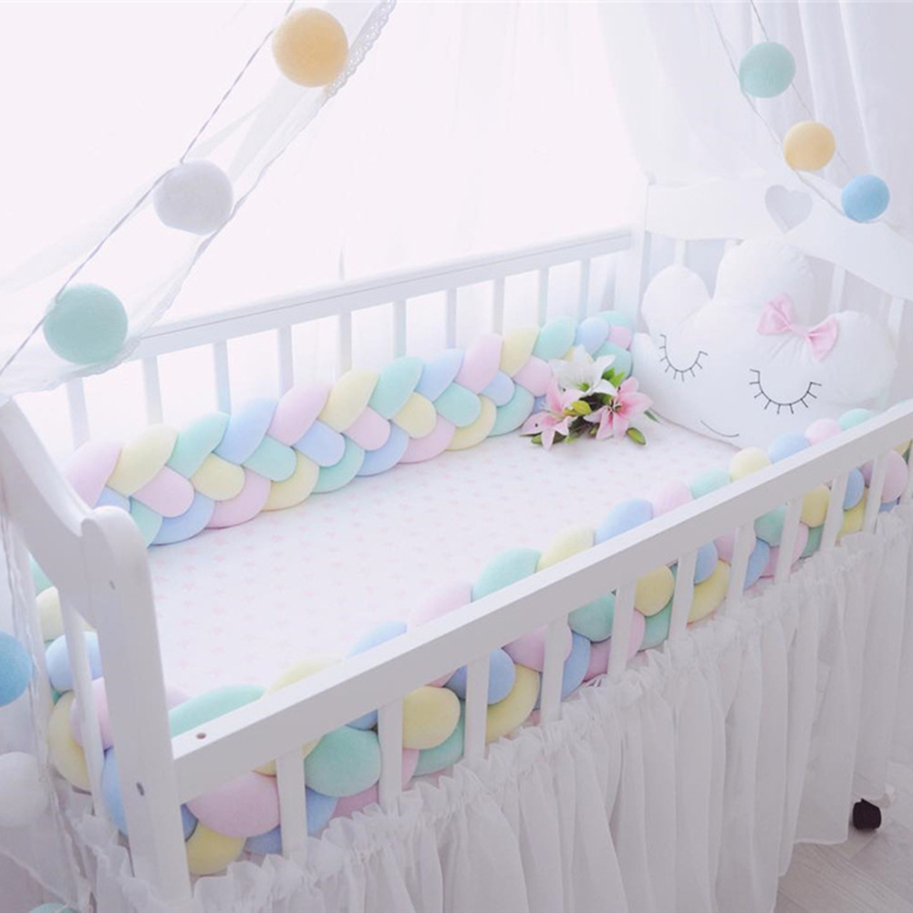Trkee Baby Bed Bumper Pure Weaving Plush Knot Crib Bumper Kids Bed Baby Crib Protecting Decor