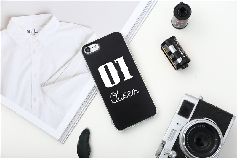 Valentine KING Queen Case for iPhone 6 Case for iPhone 5s 5 Cover Clear Silicone TPU Soft Phone Case for iPhone 8 7 6s Plus Cape 24