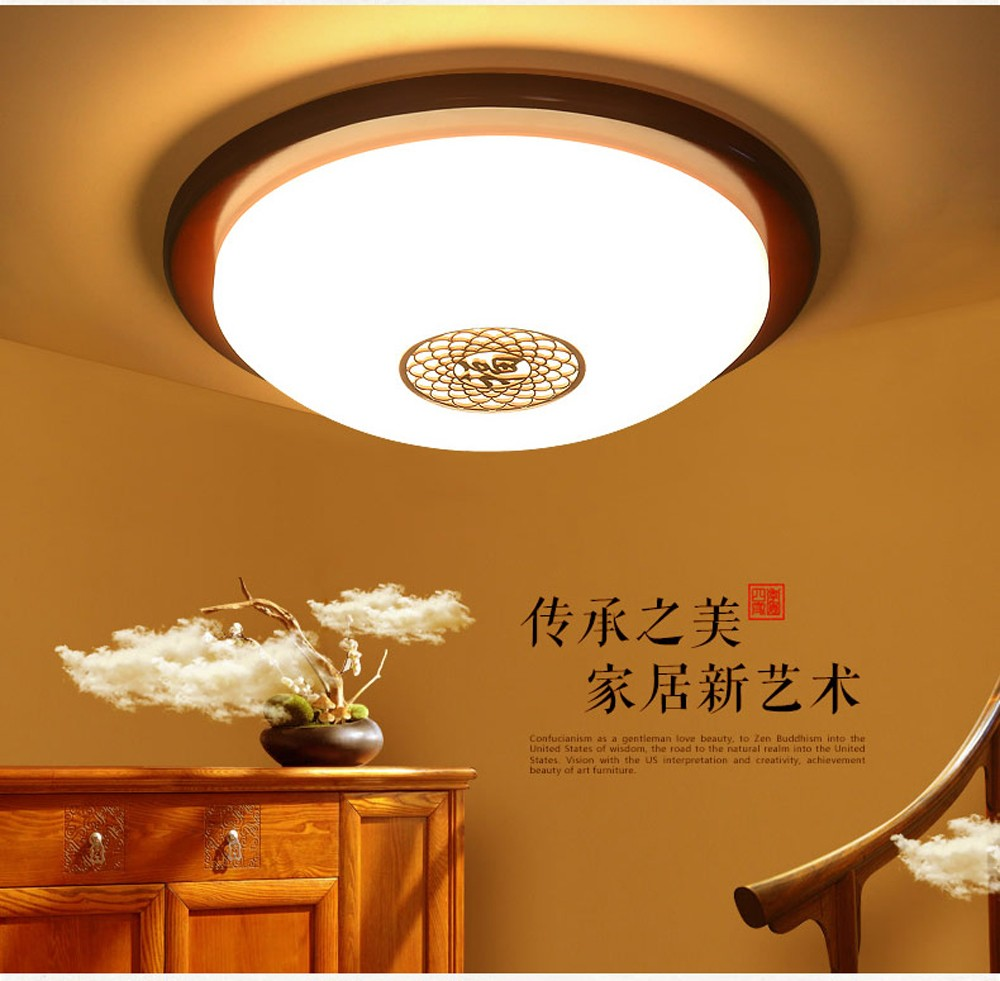 New Chinese Style Wooden Acrylic Carved LED Red Round Ceiling Light ...