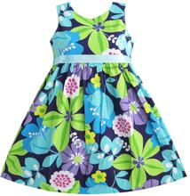 Sunny Fashion Girls Dress Blue Belt Flower Party Kids Sundress Cotton 2017 Summer Princess Wedding Dresses Clothes Size 2-10