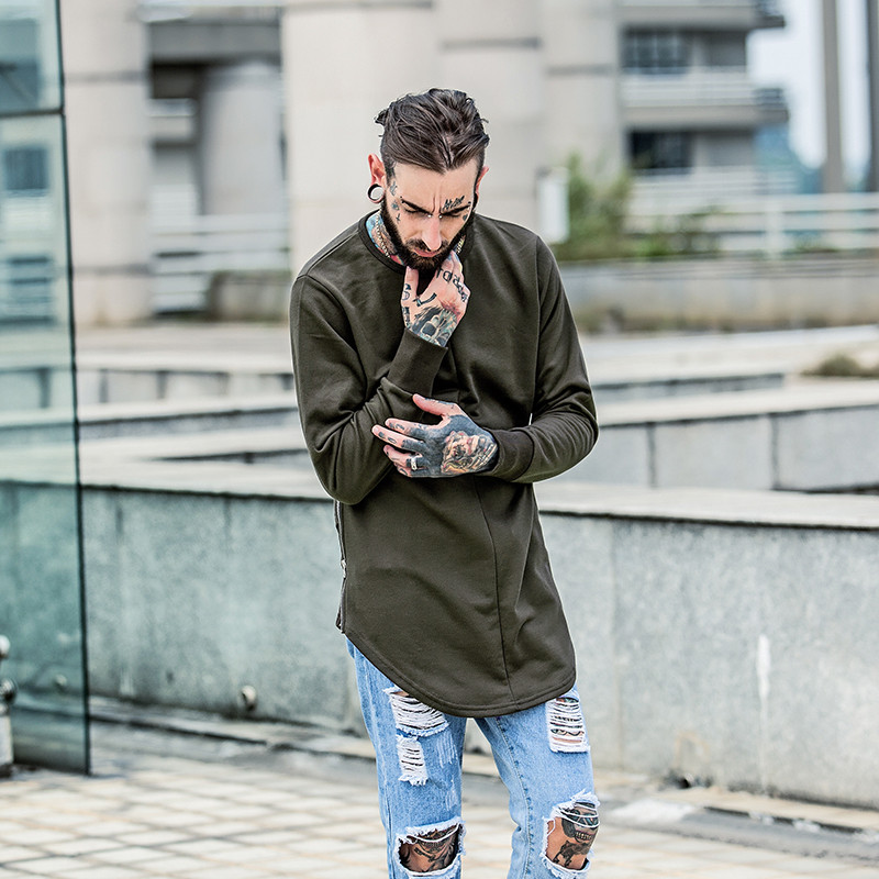 Cross Printed Hip Hop Sweatshirt Men 17Spring Streetwear Curved Hem Side Zipper Plain Mens Sweatshirts and Hoodies Man Clothes 19